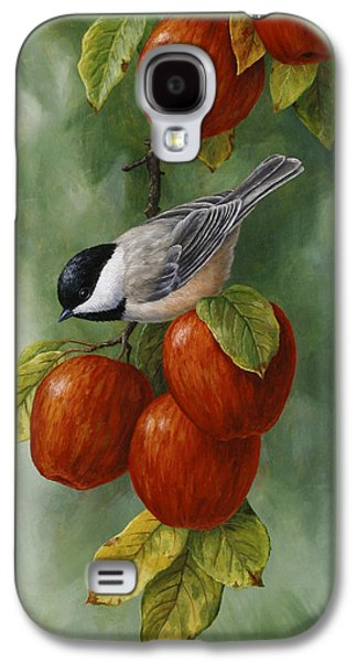 Small Galaxy S4 Cases - Bird Painting - Apple Harvest Chickadees Galaxy S4 Case by Crista Forest
