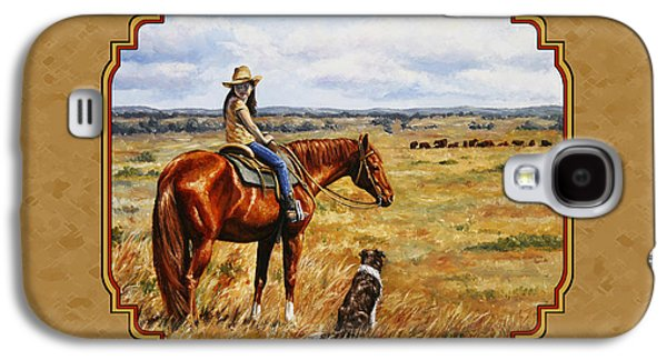 Horseback Galaxy S4 Cases - Horse Painting - Waiting for Dad Galaxy S4 Case by Crista Forest