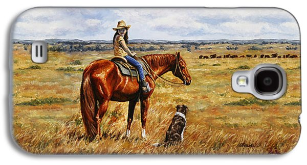 Cattle Dog Galaxy S4 Cases - Horse Painting - Waiting for Dad Galaxy S4 Case by Crista Forest