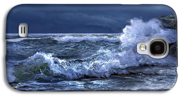 Boston Paintings Galaxy S4 Cases - Boston Harbor Lighthouse Moonlight scene Galaxy S4 Case by Gina Femrite