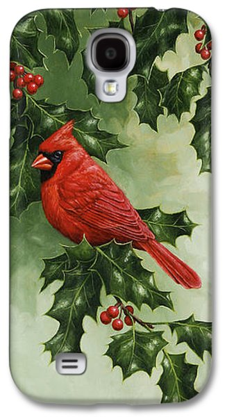 Christmas Greeting Galaxy S4 Cases - Cardinals Holiday Card - Version without snow Galaxy S4 Case by Crista Forest