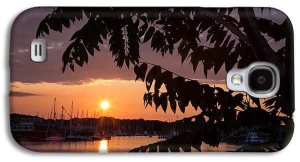 Boats In Reflecting Water Galaxy S4 Cases - As It Sets Over The Harbor Galaxy S4 Case by Karol  Livote