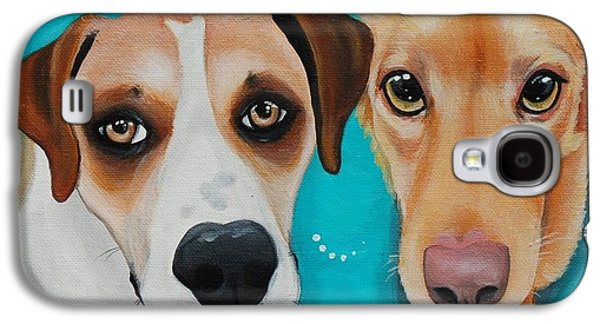 Puppies Galaxy S4 Cases - Athena and Gatsby Galaxy S4 Case by Lauren Hammack