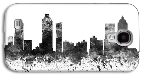 Skylines Drawings Galaxy S4 Cases - Atlanta Georgia Cityscape 02BW Galaxy S4 Case by Aged Pixel