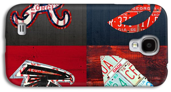 Atlanta Sports Fan Recycled Vintage Georgia License Plate Art Braves Hawks Falcons Plus State Map Galaxy S4 Case by Design Turnpike