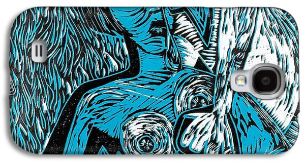 Block Print Drawings Galaxy S4 Cases - Attached Galaxy S4 Case by Thomas Valentine