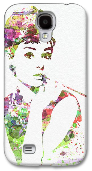 Watercolor Paintings Galaxy S4 Cases - Audrey Hepburn 2 Galaxy S4 Case by Naxart Studio