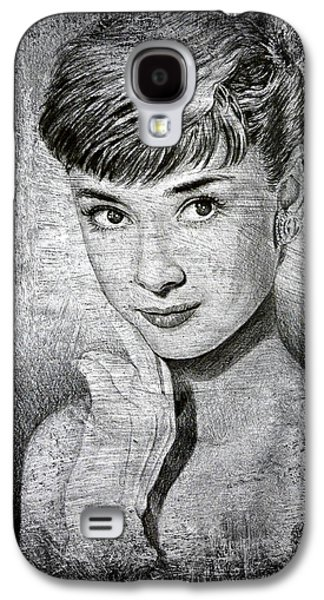 Youthful Drawings Galaxy S4 Cases - Audrey Hepburn Galaxy S4 Case by Andrew Read
