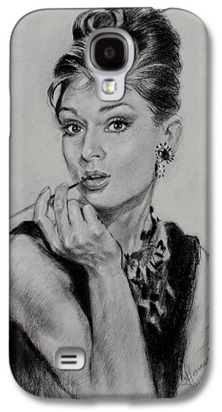 Icons Drawings Galaxy S4 Cases - Audrey Hepburn Galaxy S4 Case by Ylli Haruni