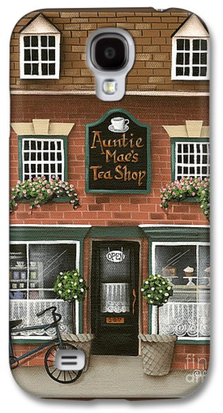 Store Fronts Paintings Galaxy S4 Cases - Auntie Maes Tea Shop Galaxy S4 Case by Catherine Holman