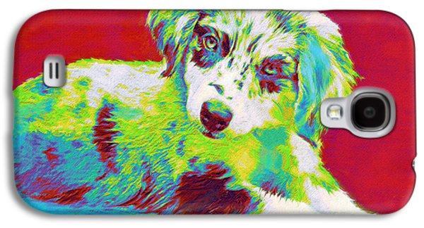 Best Sellers -  - Puppy Digital Art Galaxy S4 Cases - Aussie Puppy Galaxy S4 Case by Jane Schnetlage