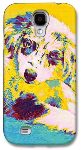 Puppy Digital Galaxy S4 Cases - Aussie Puppy-yellow Galaxy S4 Case by Jane Schnetlage