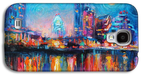Austin Drawings Galaxy S4 Cases - Austin Art impressionistic skyline painting #2 Galaxy S4 Case by Svetlana Novikova
