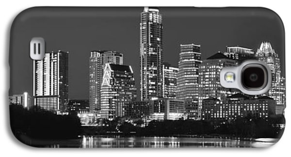 City Scene Galaxy S4 Cases - Austin Skyline at Night Black and White BW Panorama Texas Galaxy S4 Case by Jon Holiday