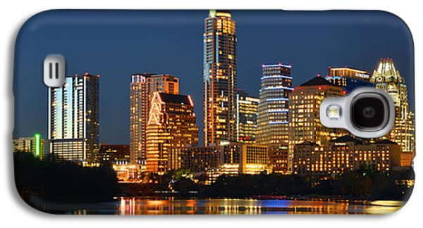 City Scene Galaxy S4 Cases - Austin Skyline at Night Color Panorama Texas Galaxy S4 Case by Jon Holiday