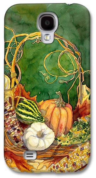 Autumn Abundance - Fall Harvest Basket Indian Corn Pumpkin Gourds Galaxy S4 Case by Audrey Jeanne Roberts