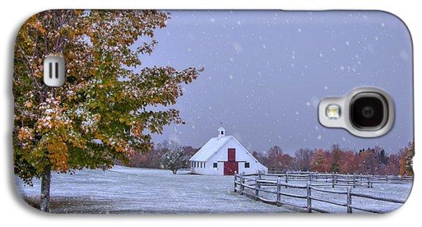 Autumn Barn In Snow - Vermont Galaxy S4 Case by Joann Vitali