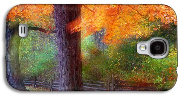 Contemplative Photographs Galaxy S4 Cases - Autumn Color Maple Trees By Fence Line Galaxy S4 Case by Panoramic Images