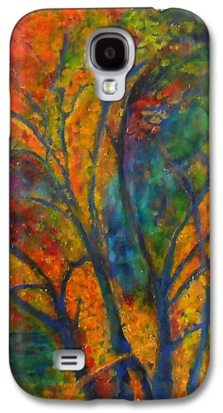 Sunset Abstract Mixed Media Galaxy S4 Cases - Autumn Embers Galaxy S4 Case by Caroline Czelatko