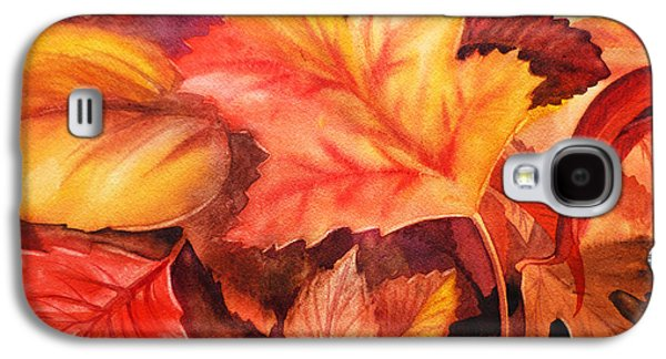 Maple Season Paintings Galaxy S4 Cases - Autumn Leaves Galaxy S4 Case by Irina Sztukowski