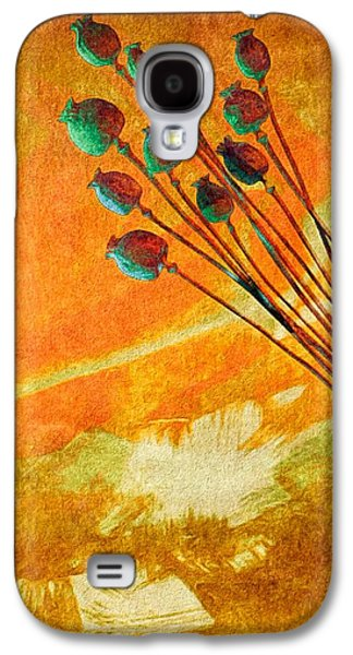 Botanical Galaxy S4 Cases - Autumn Poppy Pods Galaxy S4 Case by Susan Maxwell Schmidt