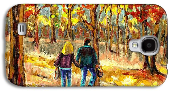 Quebec Streets Paintings Galaxy S4 Cases - Autumn  Stroll On Mount Royal Galaxy S4 Case by Carole Spandau