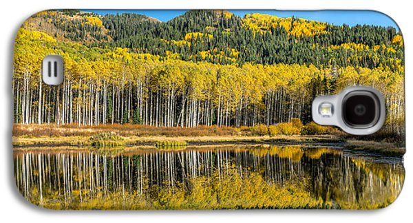 Willow Lake Galaxy S4 Cases - Autumn Trees Reflecting on Willow Lake in Utah Galaxy S4 Case by James Udall