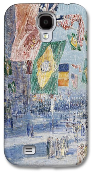 Patriotism Paintings Galaxy S4 Cases - Avenue of the Allies  Brazil  Belgium Galaxy S4 Case by Childe Hassam