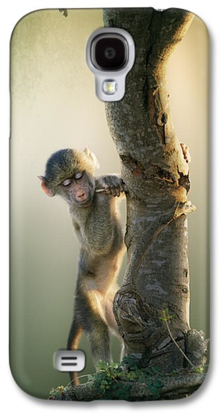 Playful Digital Galaxy S4 Cases - Baby Baboon in Tree Galaxy S4 Case by Johan Swanepoel
