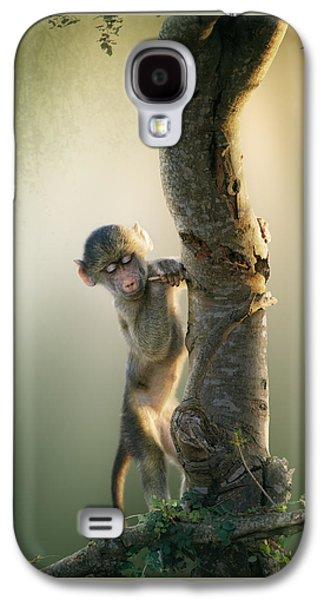 Bass Digital Art Galaxy S4 Cases - Baby Baboon in Tree Galaxy S4 Case by Johan Swanepoel