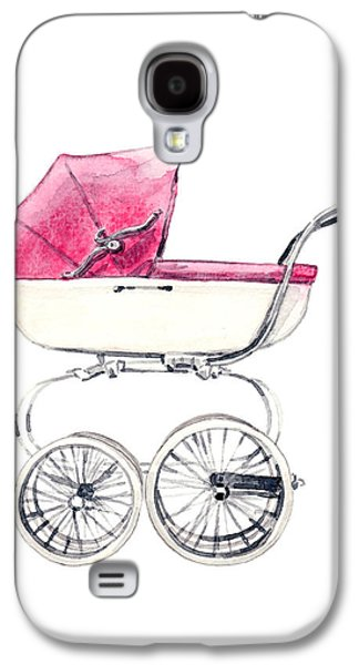 Duchess Of Cambridge Galaxy S4 Cases - Baby Carriage in Pink - Vintage Pram English Galaxy S4 Case by Laura Row