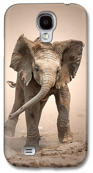Adorable Galaxy S4 Cases - Baby Elephant mock charging Galaxy S4 Case by Johan Swanepoel