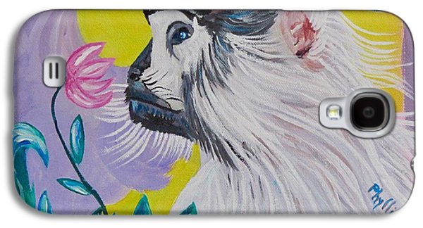 Sun Galaxy S4 Cases - Baby Patas Monkey and His Flower Galaxy S4 Case by Phyllis Kaltenbach