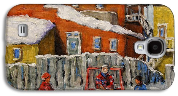 Canadian Sports Paintings Galaxy S4 Cases - Back Lane Hockey created by Prankearts Galaxy S4 Case by Richard T Pranke