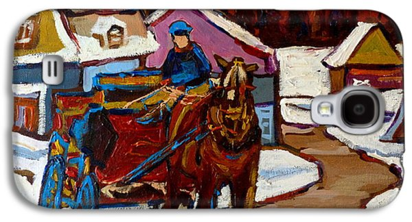 Horse And Buggy Paintings Galaxy S4 Cases - Baie Saint Paul Quebec Country Scene Galaxy S4 Case by Carole Spandau