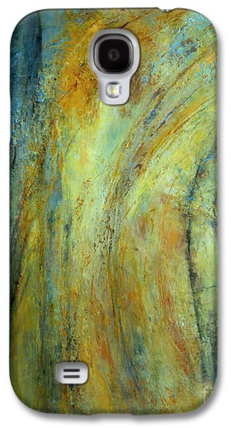 Blue Abstracts Tapestries - Textiles Galaxy S4 Cases - Balancing Act Galaxy S4 Case by Valerie Travers