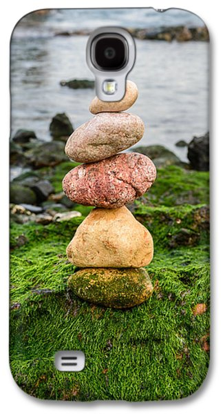 Balancing Zen Stones By The Sea Iv Galaxy S4 Case by Marco Oliveira
