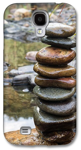 Balancing Zen Stones In Countryside River Vii Galaxy S4 Case by Marco Oliveira