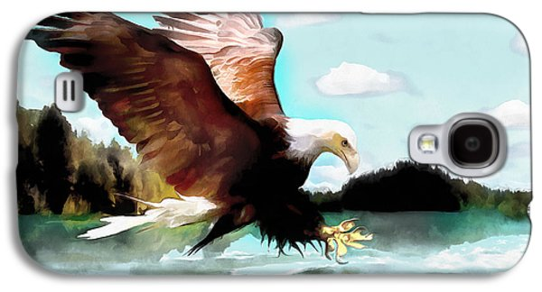 4th July Paintings Galaxy S4 Cases - Bald Eagle Painting Watercolor Fine Art Print Galaxy S4 Case by Vya Artist