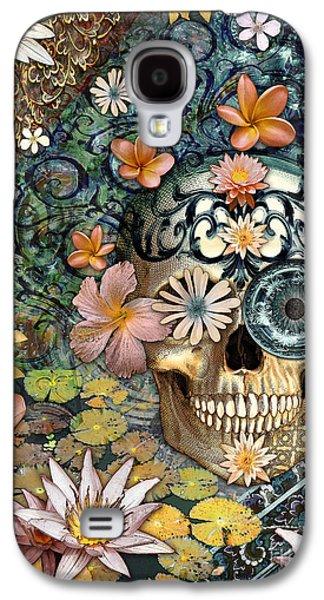 Bali Botaniskull - Floral Sugar Skull Art Galaxy S4 Case by Christopher Beikmann