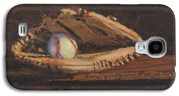 Baseball Glove Paintings Galaxy S4 Cases - Ball and Glove Galaxy S4 Case by Bill Tomsa