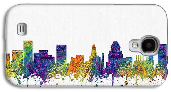 Baltimore Galaxy S4 Cases - Baltimore Maryland skyline color03 Galaxy S4 Case by Aged Pixel