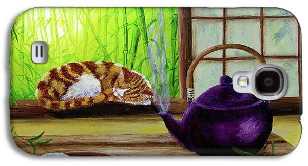 Orange Tabby Paintings Galaxy S4 Cases - Bamboo Morning Tea Galaxy S4 Case by Laura Iverson
