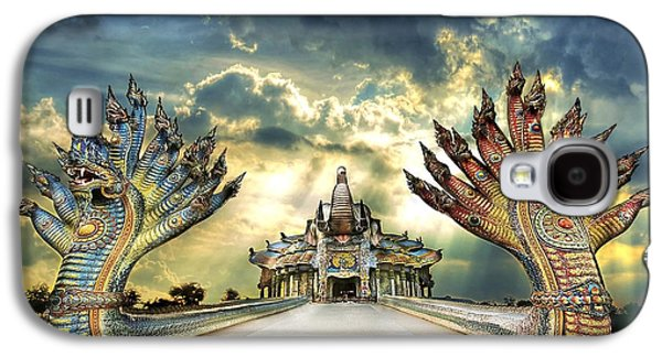 People Sculptures Galaxy S4 Cases - Ban rai temple , A beautiful temple in Thailand Galaxy S4 Case by Kriangkrai Netnangrong
