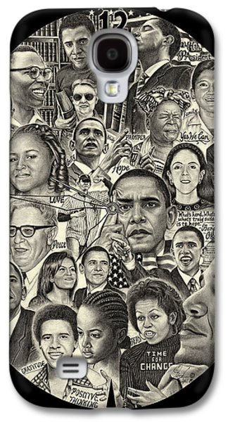 Michelle Obama Drawings Galaxy S4 Cases - Barack Obama, Michelle Obama and family Galaxy S4 Case by Omoro Rahim