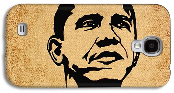 President Barack Obama Galaxy S4 Cases - Barack Obama original coffee painting Galaxy S4 Case by Georgeta  Blanaru