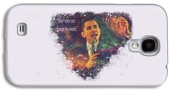Barack Obama Quote Digital Cosmic Artwork Galaxy S4 Case by Georgeta Blanaru