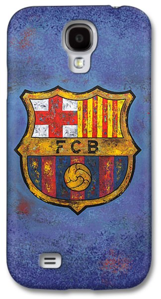 Champion Mixed Media Galaxy S4 Cases - Barca Football Vintage on Blue and Violet Galaxy S4 Case by Dan Haraga