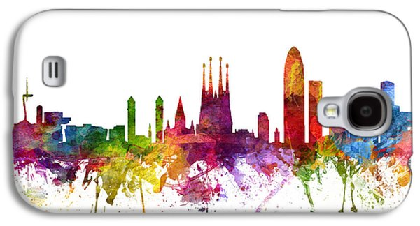 Skylines Drawings Galaxy S4 Cases - Barcelona Spain Cityscape 06 Galaxy S4 Case by Aged Pixel