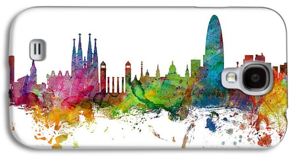 Barcelona Spain Skyline Panoramic Galaxy S4 Case by Michael Tompsett